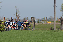 Barbara Guarischi at the front of the bunch at Women's Gent Wevelgem 2017. A 145 km road race on March 26th 2017, from Boezinge to Wevelgem, Belgium. (Photo by Sean Robinson/Velofocus)