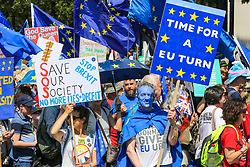 "© Licensed to London News Pictures. 20/07/2019. London, UK. Pro EU demonstrators take part in the ""No to Boris. Yes to Europe"" march in central London. Photo credit: Dinendra Haria/LNP"