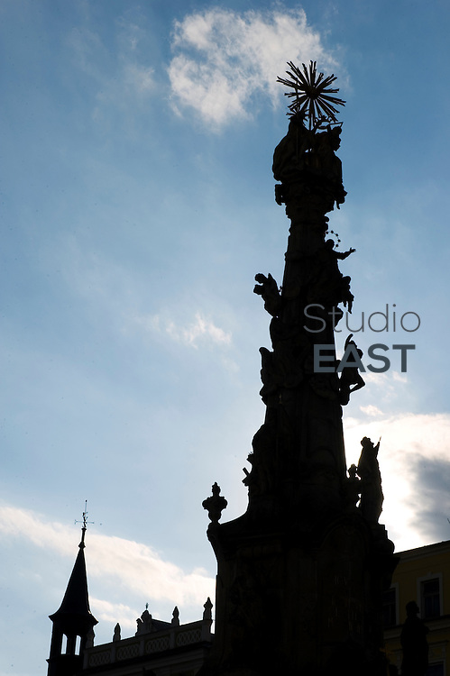 The Holy Trinity sculpture, also referred to as the Plague column, stands on Náměstí Míru, main square of Jindrichuv Hradec, Czech Republic, on August 18, 2011. Photo by Lucas Schifres/Pictobank