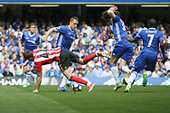 Chelsea defender John Terry (26) takes control during the Premier League match between Chelsea and Sunderland at Stamford Bridge, London, England on 21 May 2017. Photo by John Potts.