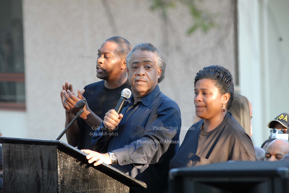 Rev. Al Sharpton is joined in front of the LaSalle Parish courthouse by Mychal Bells parents as he calls for justice in the Jena 6 case.Thousands gather outside the LaSalle Parish court house and show their support for the Jena 6. Rev. Al Sharpton and Michale b from the radio organized the ralley in Jena Louisiana Thursday Sept. 2007.(Photo/© Suzi Altman)