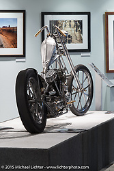 """Rick Bray's custom Panhead in Michael Lichter's Motorcycles as Art annual exhibition titled """"The Naked Truth"""" at the Buffalo Chip Gallery during the 75th Annual Sturgis Black Hills Motorcycle Rally.  SD, USA.  August 4, 2015.  Photography ©2015 Michael Lichter."""