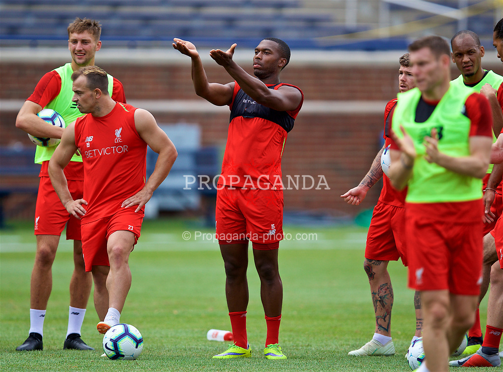 ANN ARBOR, USA - Friday, July 27, 2018: Liverpool's Daniel Sturridge during a training session ahead of the preseason International Champions Cup match between Manchester United FC and Liverpool FC at the Michigan Stadium. (Pic by David Rawcliffe/Propaganda)