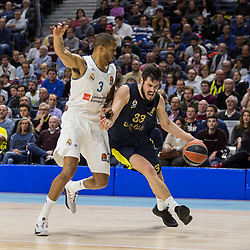 March 2, 2018 - Madrid, Madrid, Spain - Anthony Randolph (L) and Nikola Kalinic (R) during Fenerbahce Dogus Istanbul victory over Real Madrid (83 - 86) in Turkish Airlines Euroleague regular season game (round 24) celebrated at Wizink Center in Madrid (Spain). March 2nd 2018. (Credit Image: © Juan Carlos Garcia Mate/Pacific Press via ZUMA Wire)