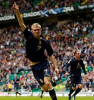 Photo: Jed Wee.<br />Scotland v Faroe Islands. European Championships 2008 Qualifying. 02/09/2006.<br /><br />Scotland's Darren Fletcher celebrates after opening the scoring.