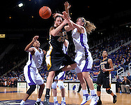 Missouri's Carlynn Savant (43) and Kansas State's Danelle Zanotti (R) go up for a loose ball, during the first half at Bramlage Coliseum in Manhattan, Kansas, January 13, 2007.  K-State beat the Tigers 81-66.