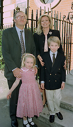 COUNT & COUNTESS GIOVANNI EMO CAPODILISTA, and their children OLYMPIA and FILIPPO at a christening in London on 3oth May 1997.LYX 28