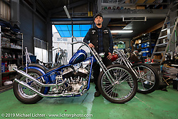 Custom bike builder Massa (Masai Inoue) with a Harley-Davidson Flathead in his Revolt Custom Cycles in Osaka, Japan. Friday, December 7, 2018. Photography ©2018 Michael Lichter.