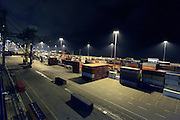 container transport harbor during night time