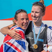 Olivia Loe and Brooke Donoghue New Zealand Womens Double Scull World Champions<br /> <br /> Finals races at the World Championships, Sarasota, Florida, USA Sunday 1st October 2017. Copyright photo © Steve McArthur / Rowing NZ