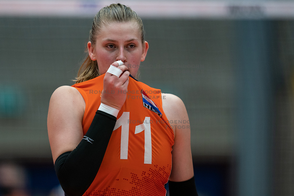 Elles Dambrink of Netherlands in action during semi final Netherlands - Serbia, FIVB U20 Women's World Championship on July 17, 2021 in Rotterdam