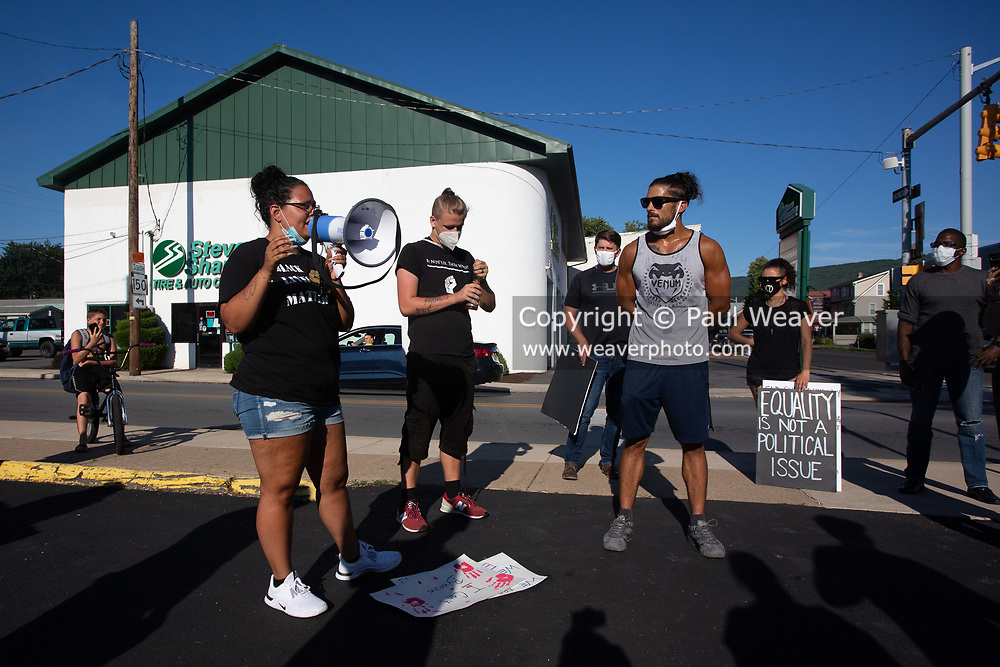 Organizers speak to the crowd during a Black Lives Matter protest in Lock Haven, PA.