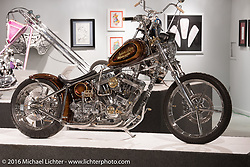 For the Streets, Bobby Seeger's Indian Larry Motorcycles S&S 111 ci rigid chopper in Michael Lichter's Skin & Bones tattoo inspired Motorcycles as Art show at the Buffalo Chip Gallery during the annual Sturgis Black Hills Motorcycle Rally. SD, USA. August 10, 2016. Photography ©2016 Michael Lichter.