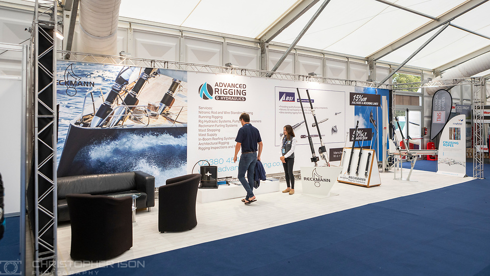 Advanced Rigging and Hydraulics at the Southampton International Boat Show.<br /> Shot for Ancasta International.<br /> Picture date: Friday September 10, 2021.<br /> Photograph by Christopher Ison ©<br /> 07544044177<br /> chris@christopherison.com<br /> www.christopherison.com<br /> <br /> IMPORTANT NOTE REGARDING IMAGE LICENCING FOR THIS PHOTOGRAPH: This image is supplied to the client under the terms previously agree. No sales are permitted unless expressly agreed in writing by the photographer.