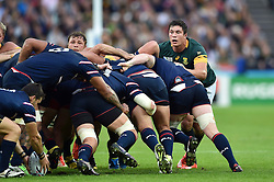 Francois Louw of South Africa looks on at a scrum - Mandatory byline: Patrick Khachfe/JMP - 07966 386802 - 07/10/2015 - RUGBY UNION - The Stadium, Queen Elizabeth Olympic Park - London, England - South Africa v USA - Rugby World Cup 2015 Pool B.