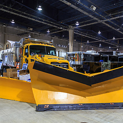 Harrosburg, PA, USA - January 13. 2015: Yellow PennDOT snow plow on display in Harrisburg at the Pennsylvania Farm Show.