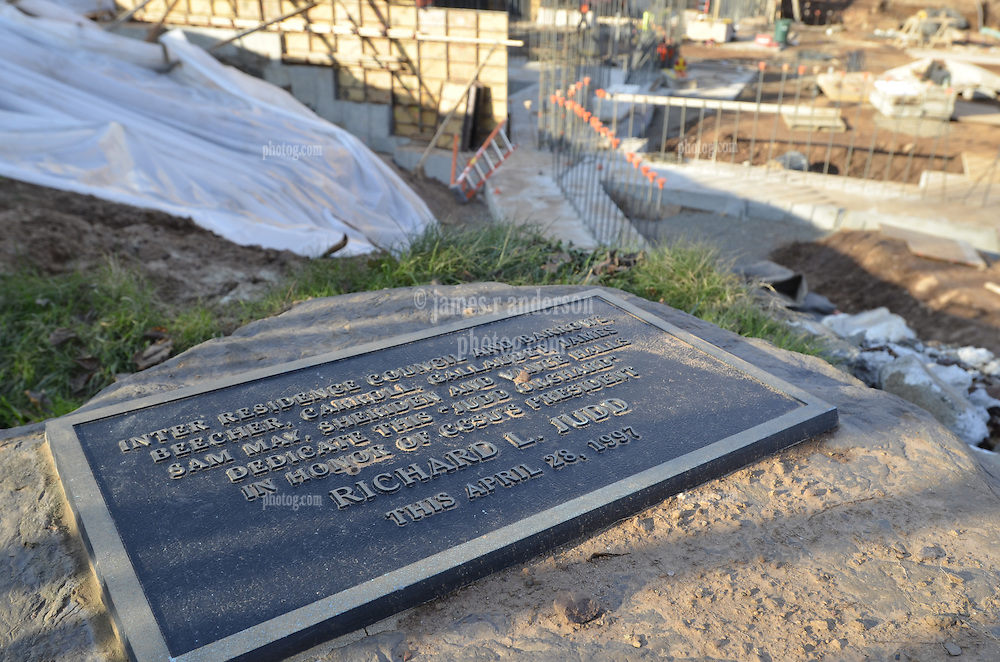 Richard Judd Commemoritive Plaque lays in place during construction of the CCSU New Academic and Office Building. Contractor: Gilbane Inc.