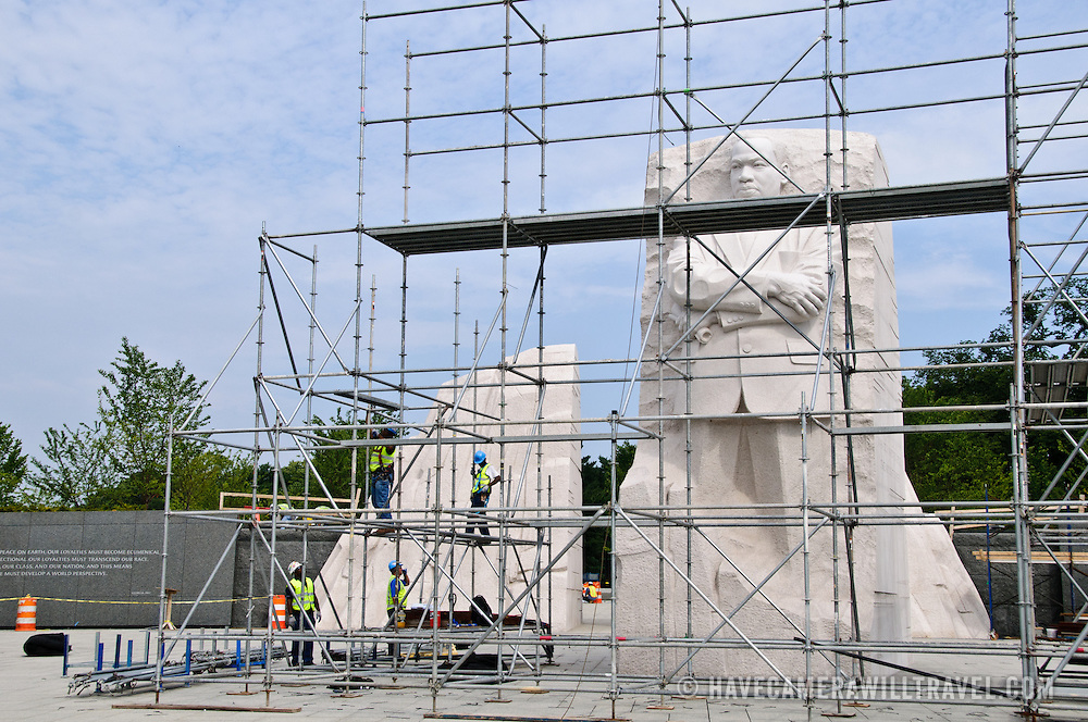 Scaffolding being dismantled in preparation for the dedication of the Martin Luther King Memorial in Washington DC.