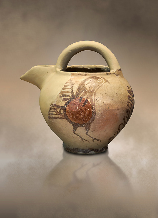 Bridge spouted jug bird decorated. Early Cycladic I (1650-1550 BC); Phylakopi; Melos. National Archaeological Museum Athens. Cat No 5768.<br /> <br /> During this Cycladic period the pottery designs were heavily influenced by Cretean minoan with pottery like this using bird patterns. .<br /> <br /> If you prefer to buy from our ALAMY PHOTO LIBRARY  Collection visit : https://www.alamy.com/portfolio/paul-williams-funkystock/cycladic-art-artefacts.html Type into the LOWER SEARCH WITHIN GALLERY box to refine search by adding background colour, place, museum etc<br /> <br /> Visit our CYCLADIC CIVILISATIONS PHOTO COLLECTIONS for more photos to download or buy as wall art prints https://funkystock.photoshelter.com/gallery-collection/Cycladic-civilisation-Ancient-Greek-Artefacts-art-Photos-Pictures-Images/C0000CmevVvnC.XU