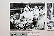 Calne Heritage Centre museum, Heritage Quarter,  Calne, Wiltshire, England, UK photo women weighing rashers of bacon 1968 Harris factory