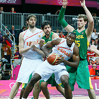 06 August 2012: Spain Serge Ibaka vies for the rebound with Tiago Splitter during 88-82 Team Brazil victory over Team Spain, during the men's basketball preliminary, at the Basketball Arena, in London, Great Britain.
