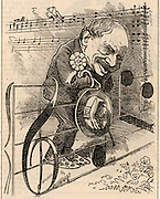 Julius Benedict (1804-1885) German-born composer and conductor, born at Stuttgart, the son of a Jewish banker. He spent most of his career in  England.  Benedict in 1882 when his cantata 'Graziella' was performed at the Birmingham Festival.  Cartoon by Edward Linley Sambourne in the Punch's Fancy Portraits series from 'Punch' (London, 26 August 1882).