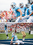 The Citadel B-Back Logan Billings celebrates scoring a touchdown against Virginia Military Institute during a Southern Conference Game at Johnson Hagood Stadium in Charleston, South Carolina on Saturday, October 2, 2021.<br /> <br /> Credit: Cameron Pollack / The Citadel Athletics