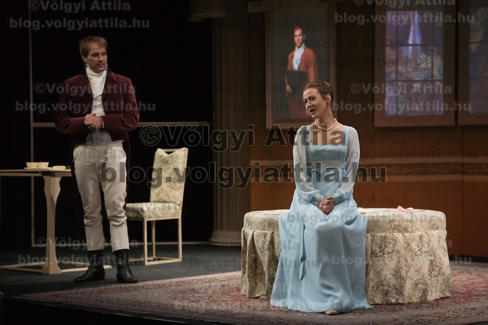 Zoltan Schmied (L) and Moni Balsai (R) perform during the dress rehearsal of Jane Austen's Pride and Prejudice directed by Karoly Ujj Meszaros in Budapest, Hungary on Sept. 26, 2018. ATTILA VOLGYI