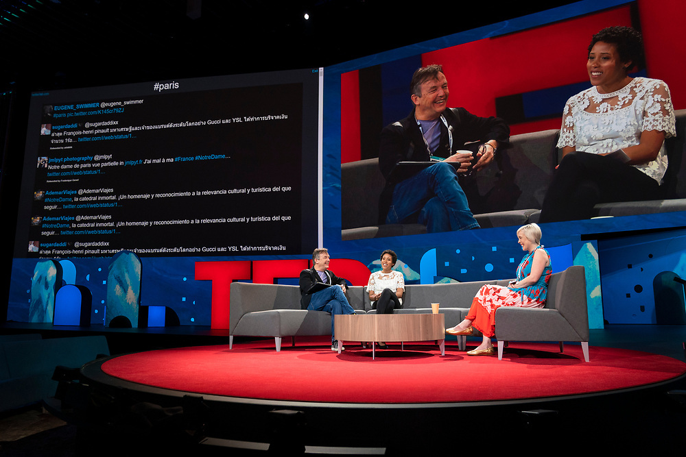 Hosts Chris Anderson, Whitney Pennington Rodgers, and Helen Walters speak at TED2019: Bigger Than Us. April 15 - 19, 2019, Vancouver, BC, Canada. Photo: Bret Hartman / TED