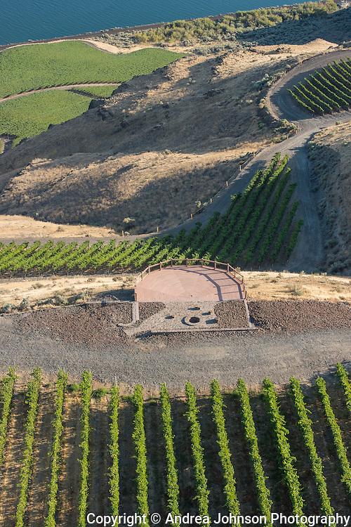 Aerial view over Benches Vineyard, Horse Heaven Hills AVA, Washington