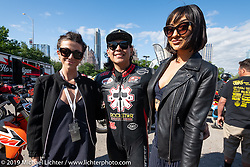 Aaron Guardado with friends at the Revival and Roland Sands sponsored races including the Super Hooligan main attraction outside during the Handbuilt Show. Austin, Texas USA. Saturday, April 13, 2019. Photography ©2019 Michael Lichter.
