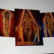 Expositie opening Naakten in de Supperclub van Ronald Schmets, schilderij Mickey Hoogendijk