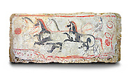 Lucanian fresco tomb painting of a chariot race . Paestrum, Andriuolo. Tomb n. 48.  ( 340-330 BC ) .<br /> <br /> If you prefer to buy from our ALAMY PHOTO LIBRARY  Collection visit : https://www.alamy.com/portfolio/paul-williams-funkystock - Scroll down and type - Paestum Fresco - into LOWER search box. {TIP - Refine search by adding a background colour as well}.<br /> <br /> Visit our ANCIENT GREEKS PHOTO COLLECTIONS for more photos to download or buy as wall art prints https://funkystock.photoshelter.com/gallery-collection/Ancient-Greeks-Art-Artefacts-Antiquities-Historic-Sites/C00004CnMmq_Xllw