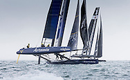 Image licensed to Lloyd Images. Free for editorial use. <br /> Pictures of Official Practice Day 24.07.15 - Artemis Racing skippered by Nathan Outteridge & Softbank Team Japan skippered by Dean Baker <br /> Credit: Lloyd Images