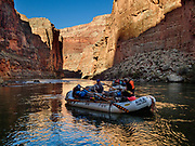 Marble Canyon reflects in the Colorado River on Day 3 of 16 days of boating 226 miles down the Colorado River in Grand Canyon National Park, Arizona, USA. For this photo's licensing options, please inquire at PhotoSeek.com. .