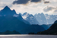Norway, Lofoten. Raftsundet is a 20km long strait separating Austvågøya and Hinnøya. The entrance to Trollfjorden.
