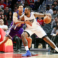 26 March 2016: LA Clippers center DeAndre Jordan (6) posts up Sacramento Kings forward Skal Labissiere (3) during the Sacramento Kings 98-97 victory over the Los Angeles Clippers, at the Staples Center, Los Angeles, California, USA.