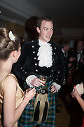CLEMENTINE TRAVIS; VICTOR LAMARQUE; , The Royal Caledonian Ball 2013. The Great Room, Grosvenor House. Park lane. London. 3 May 2013.