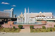 Fountains at Bayterek Tower, landmark of Astana, Kazakhstan
