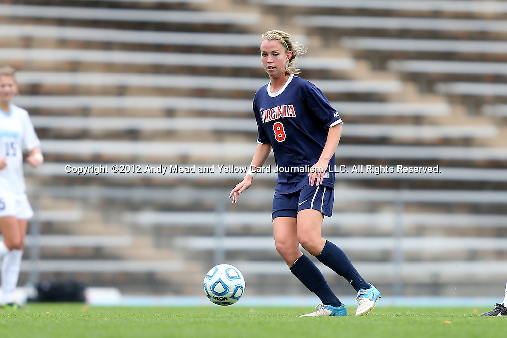 28 October 2012: Virginia's Julia Roberts. The University of North Carolina Tar Heels played the University of Virginia Cavaliers at Fetzer Field in Chapel Hill, North Carolina in a 2012 NCAA Division I Women's Soccer game. Virginia defeated UNC 1-0 in their Atlantic Coast Conference quarterfinal match.