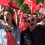 Hundreds of Pro-Turkeys fills Whitehall with reds with Turkey red flags to welcome Erdogan