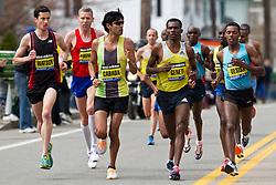 2013 Boston Marathon: Watson, Hartmann, Cabada watch as East African group of elite men catch and pass them near mile 7