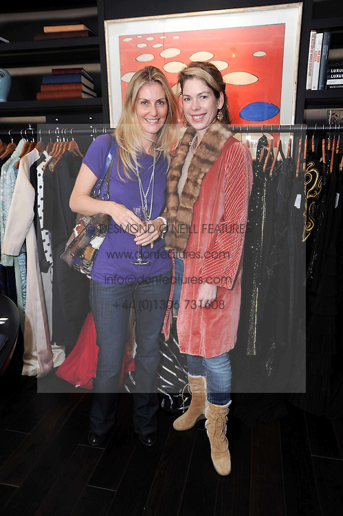 Left to right, KATY TOME and SUZANNE JOHNSON at a private view of Atelier-Mayer.com's collection held at 131 Oakwood Court, London, on 24th November 2009.