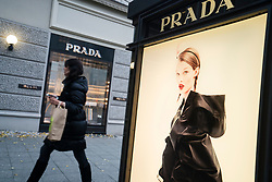 Glass display cabinet for luxury boutique Prada on famous shopping street Kurfurstendamm , Kudamm, in Berlin, Germany.