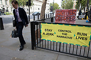 Conspiracy theorists banners denouncing the Coronavirus outbreak as government controlled along Whitehall on 7th September 2020 in London, United Kingdom.