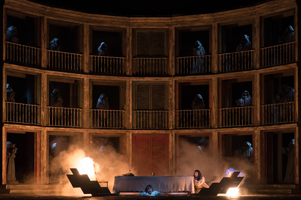 """NEW YORK, NY - September 23, 2016: Simon Keenlyside, disappearing through a trap door, and Adam Plachetka, right, during a performance of """"Don Giovanni"""" at Metropolitan Opera in Manhattan. CREDIT: Emon Hassan for The New York Times"""