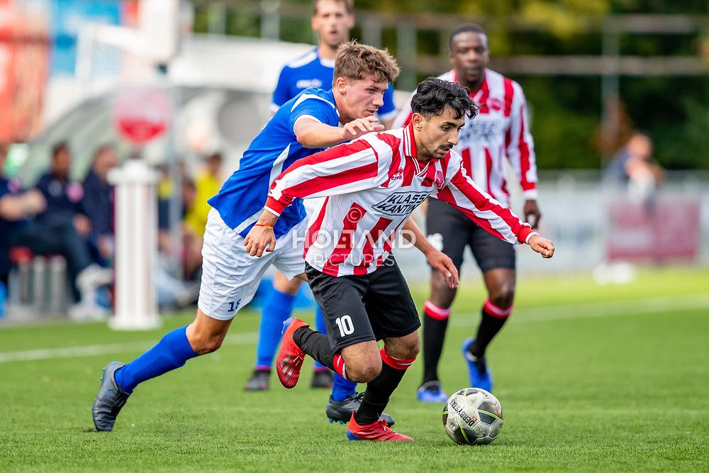 01-09-2019: Voetbal: Alphense Boys v Hoogeveen: Alphen aan den Rijn<br /> Hoofdklasse A - Seizoen 2019-2020<br /> (L-R) #18 Sebastian Kleinheerenbrink (Hoogeveen), #10 Cem Sahin (Alphense Boys)