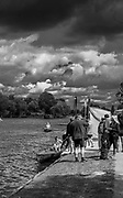 Walton, Great Britain,  Storm clouds move over the course of the Walton Reach Regatta, Walton on Thames, Skiff and Punting Regatta, River Thames.  <br /> <br /> Saturday  19/08/2017<br /> <br /> [Mandatory Credit. Peter Spurrier/Intersport Images] .......... Summer, Sport, Dark stormy Skies, Skilful, ..... Black and White. Conversion from Digital.