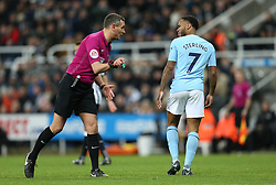 27 December 2017 Newcastle: Premier League Football - Newcastle United v Manchester City : referee Andre Marriner speaks to Raheem Sterling of Man City.<br /> (photo by Mark Leech)