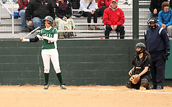 30 March 2013:  Allie Riordan batting during an NCAA Division III women's softball game between the DePauw Tigers and the Illinois Wesleyan Titans in Bloomington IL<br />